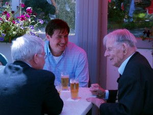 Brian Hanrahan interviewing Harry Patch over a beer at Polygon Wood