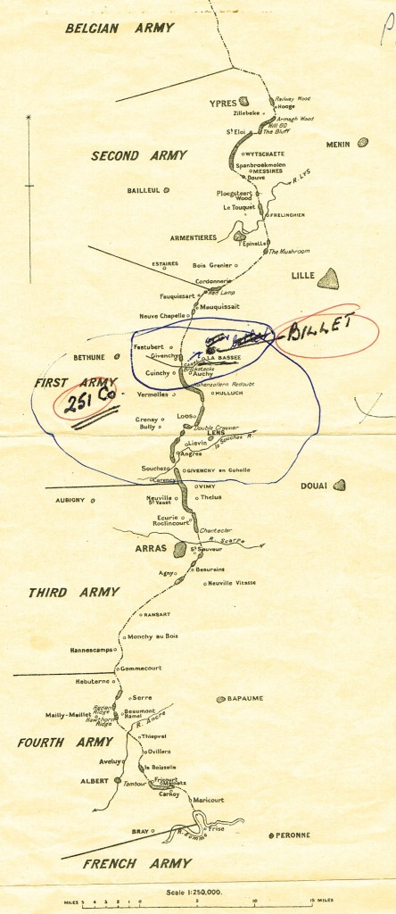 Fred's annotated map showing mining areas along the British Front. 251TC's area around Cuinchy is circled.