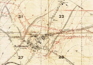 Bullecourt trench map extract. Two of the men who recuperated at Stamford Military Hospital were wounded here on 3 May 1917.