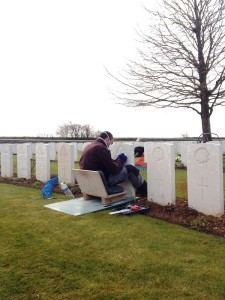 CWGC staff re-engraving headstones at Cabaret Rouge British Cemetery