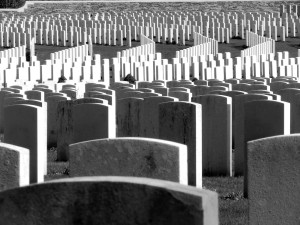 Endless headstones at Cabaret Rouge British Cemetery