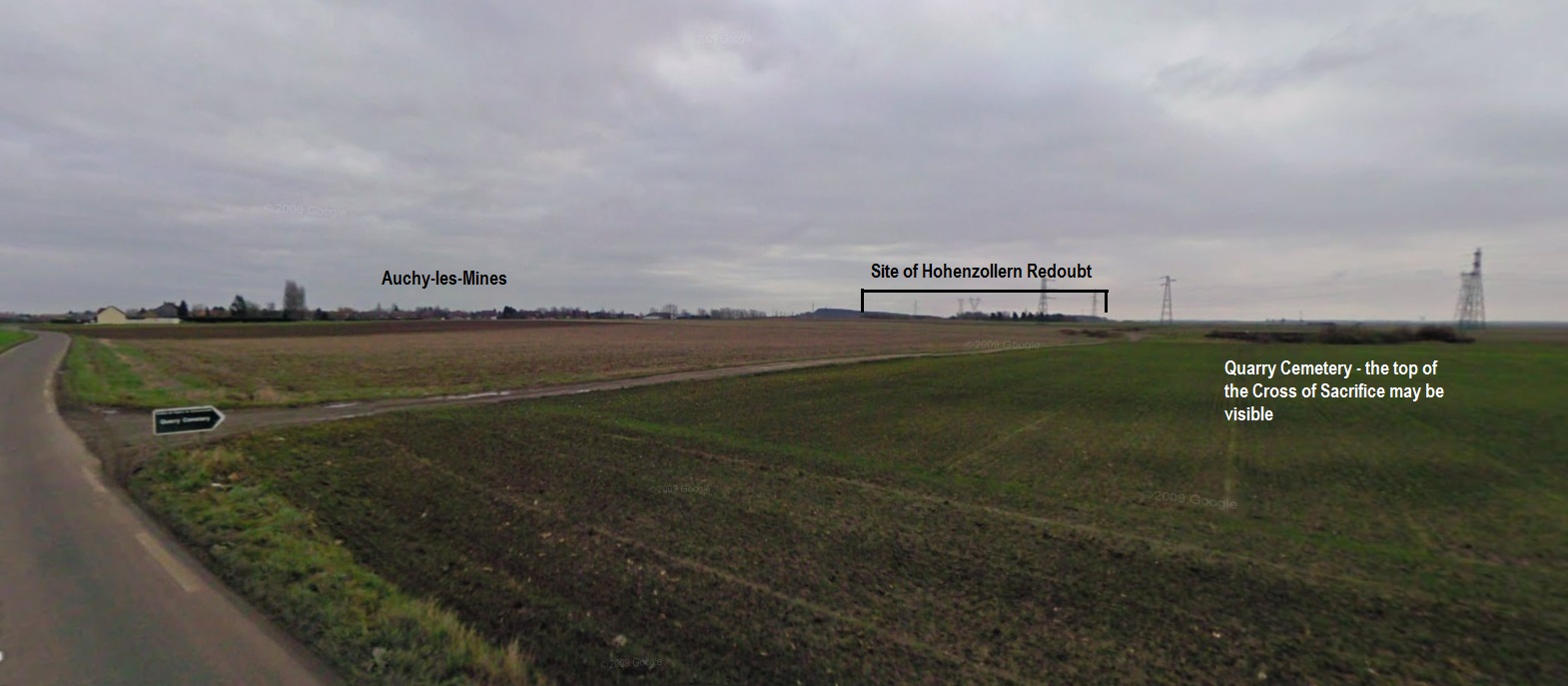 Google Street View from Vermelles – Auchy road towards Quarry Cemetery and the Hohenzollern Redoubt