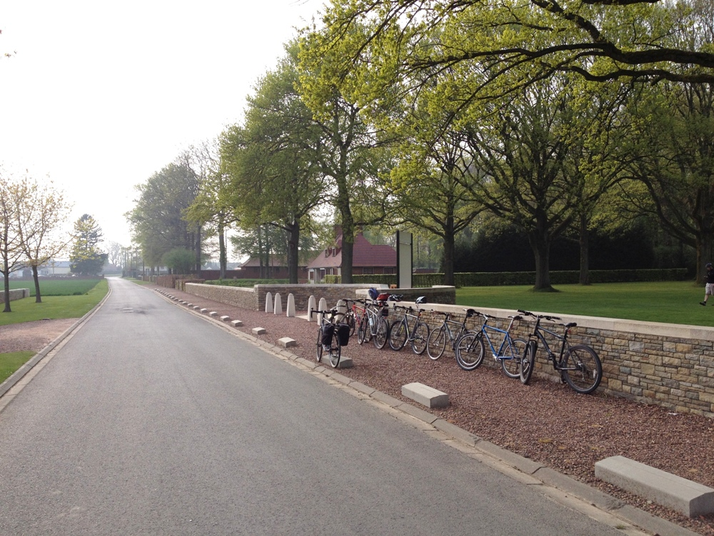 Away from Newfoundland Park and Thiepval the roads were quiet. Bikes lined up at Delville Wood.