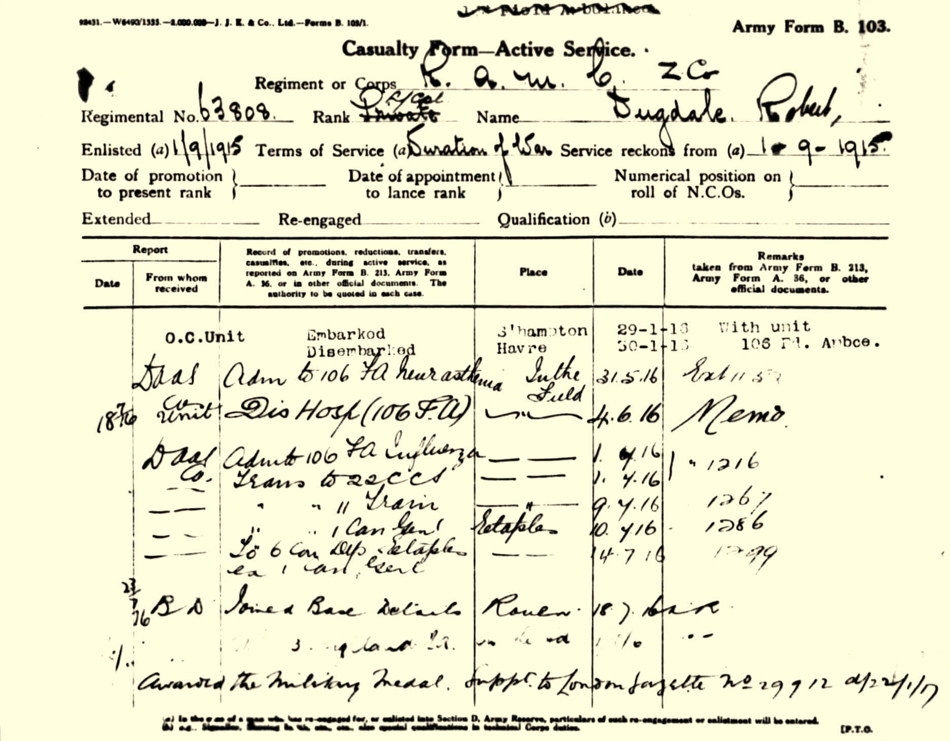Casualty Form from Robert Dugdale's Pension Record showing his admission to the Field Ambulance with neurasthenia