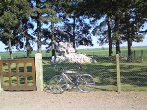 Proof that I did indeed cycle around the Somme - my bike at the Newfoundlanders Caribou Memorial at Gueudecourt