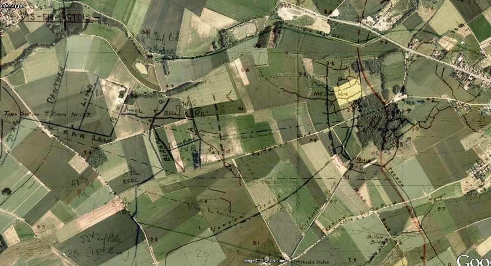 3 May 1917 objectives overlaid on Google Earth.