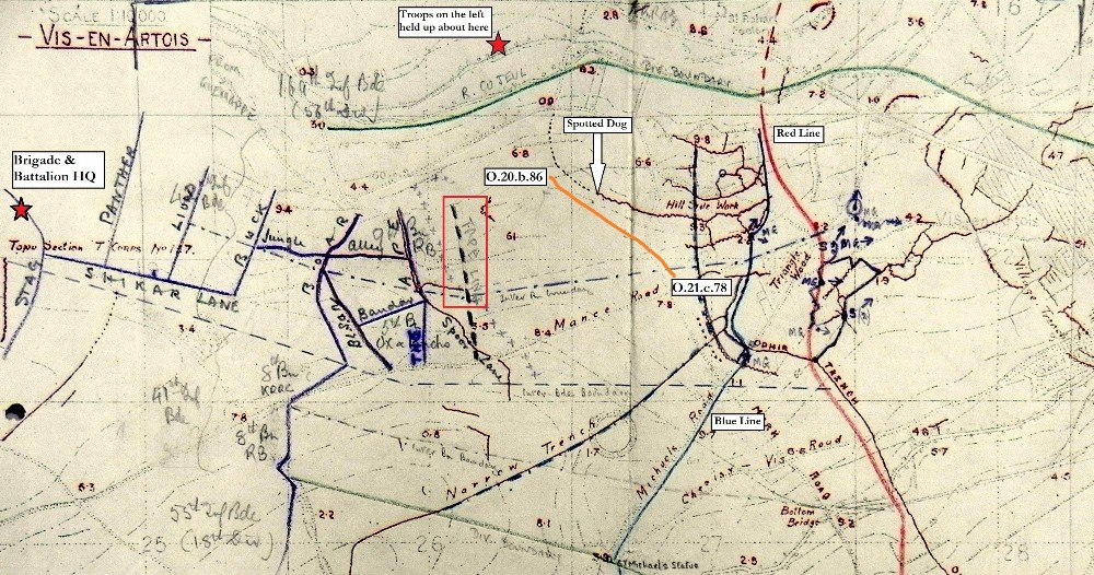 Annotated trench map extract showing 9th Rifle Brigade attack on 3 May 1917.