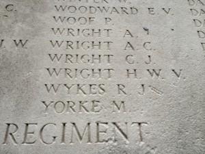 Herbert Wright, 9th Rifle Brigade on the Arras Memorial