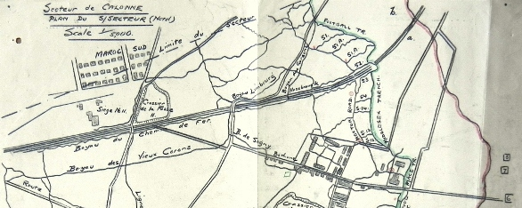 Map of Calonne North Sector showing Football and Middlesex Trenches . Reproduced from 6th Infantry Brigade War Diary held at National Archives, Ref: WO95/1353
