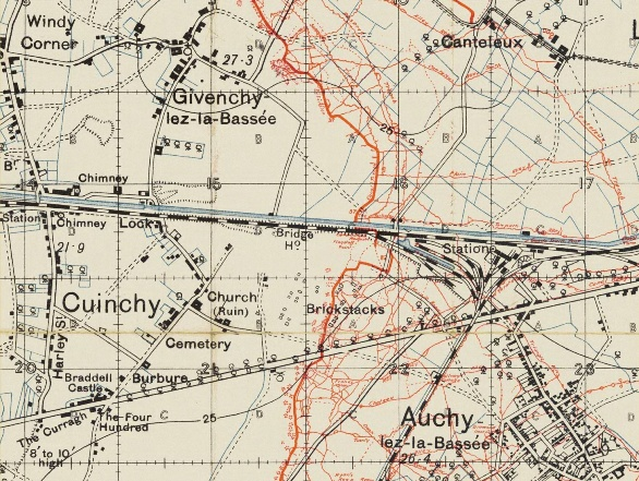 British trench map extract from December 1915 showing line around Cuinchy and Auchy.