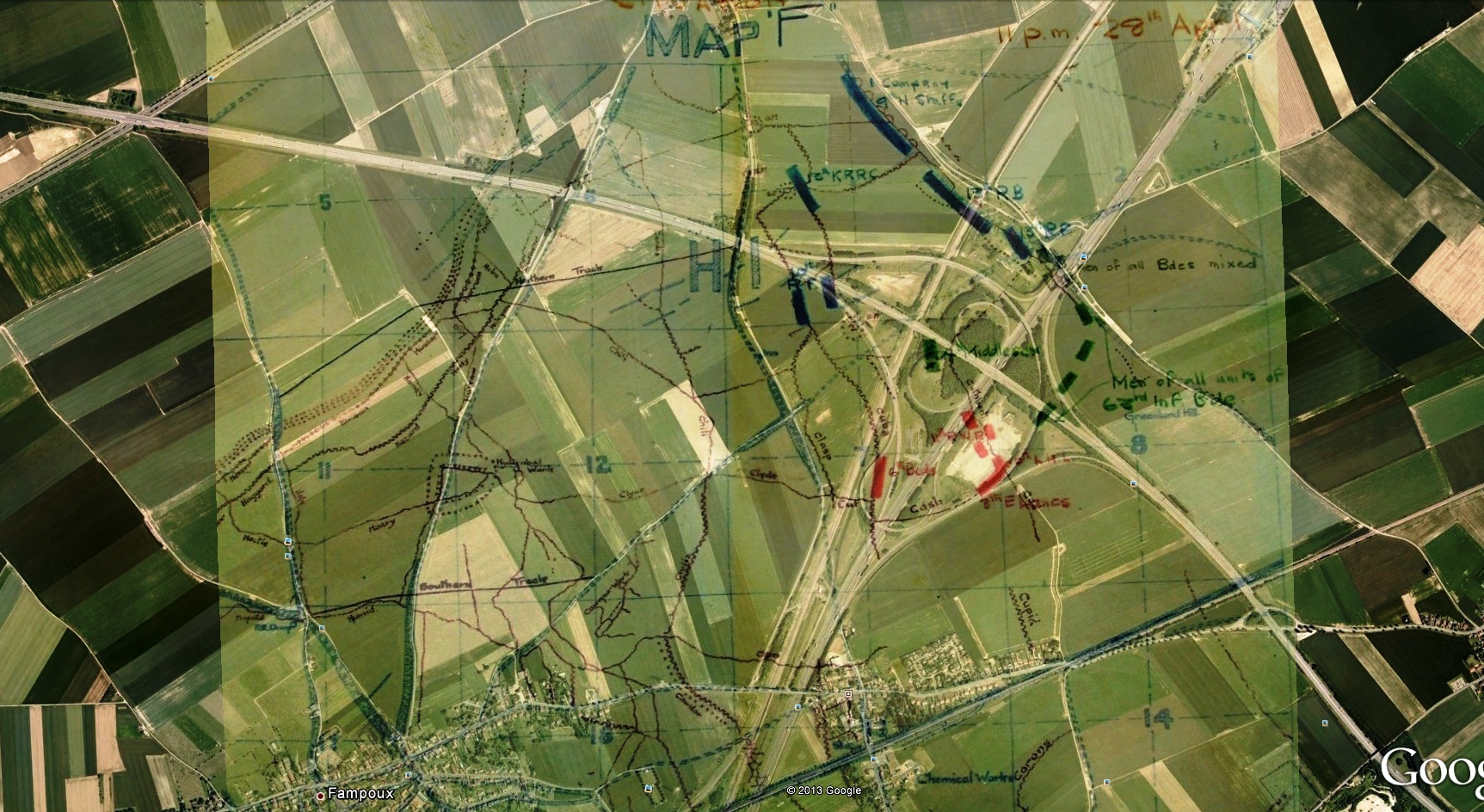 28 April 1917 map of Greenland Hill overlaid on to Google Earth. Map taken from 37th Division War Diary, National Archives Ref: WO95/2513