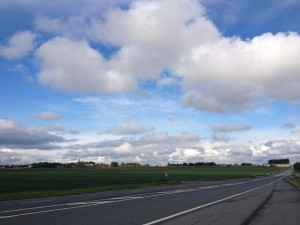 Looking up the Arras-Cambrai road to the la Bergere crossroads and Monchy le Preux