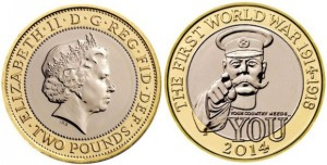 The new design featuring Lord Kitchener's Call to Arms on one of the commemorative £2 coins