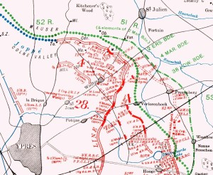 Official History map showing position occupied by 2nd Royal Dublin Fusiliers, 8 May 1915