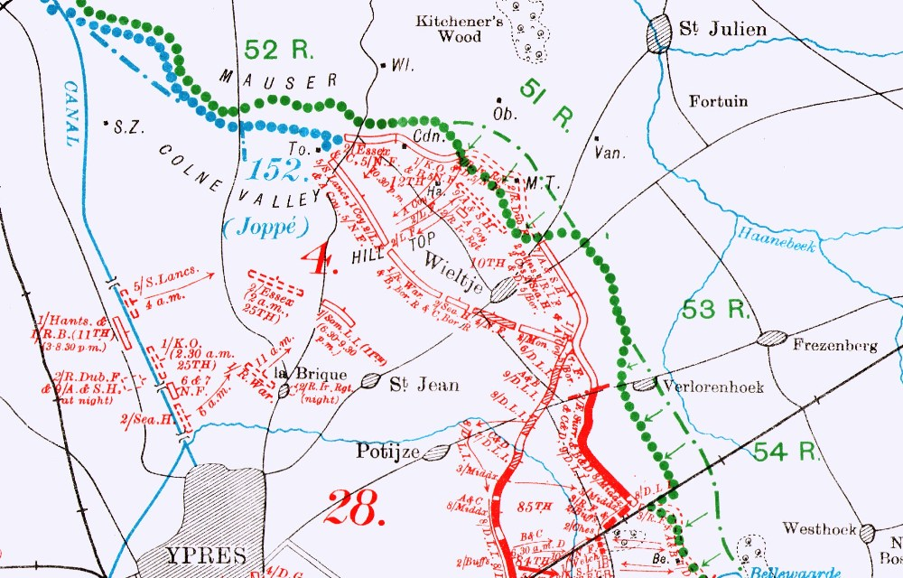 Official History map showing position occupied by 2nd Royal Dublin Fusiliers at Shell Trap Farm, 24 May 1915