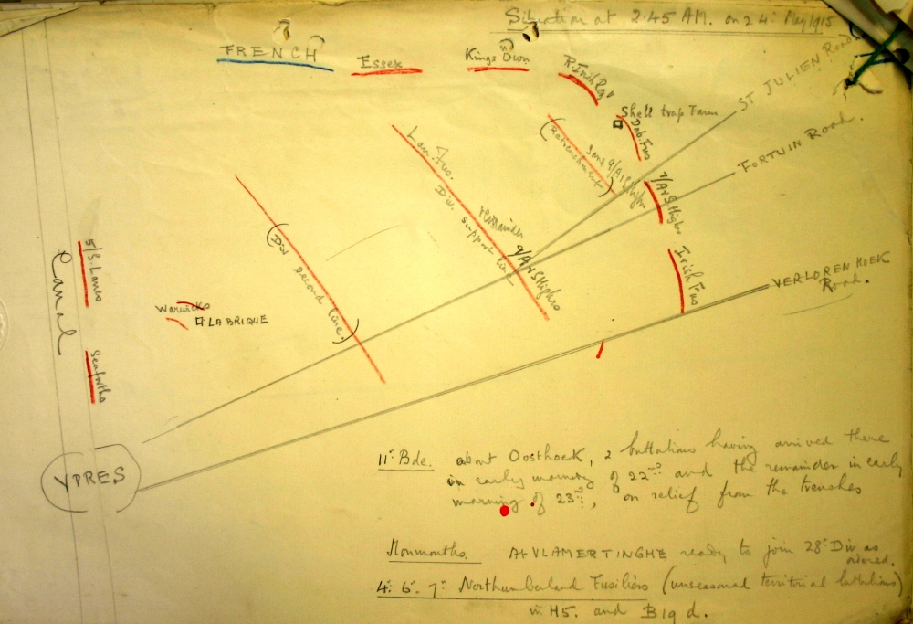 Sketch map showing situation at 2.45am on 24 May 1915. Image taken from 4th Division General Staff HQ May 1915 War Diary (NA Ref: WO95/1442) and is reproduced with permission from the National Archives.