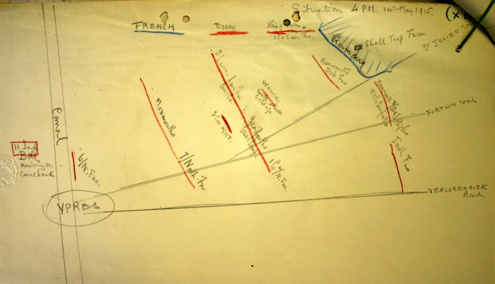 Sketch map showing situation at 4pm on 24 May 1915 after German gas attack. Image taken from 4th Division General Staff HQ May 1915 War Diary (NA Ref: WO95/1442) and is reproduced with permission from the National Archives.