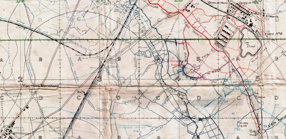 Trench map showing Hohenzollern Redoubt, The Dump and Fosse 8. British lines in blue, German lines in red.