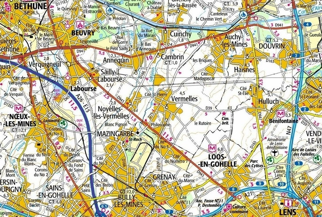 Modern map showing the Loos battlefield. Auchy-les-Mines can be seen south of the La Bassée canal. The Hohenzollern Redoubt was not far from the road passing Cité Magdagascar running to Vermelles.