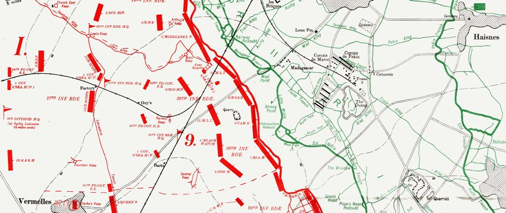 Official History map showing 9th Division attack on the Hohenzollern Redoubt