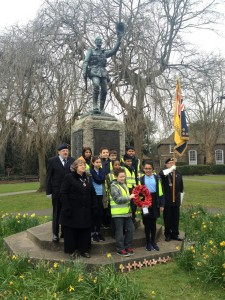 Children from Fishponds CofE Academy with members of the local RBL at Fishponds War Memorial, March 2016