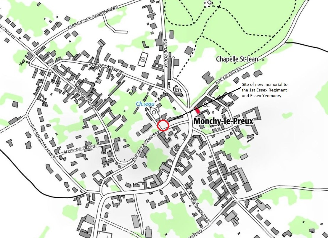 Map showing location of the new memorial to the 1st Essex Regiment and Essex Yeomanry at Monchy-le-Preux