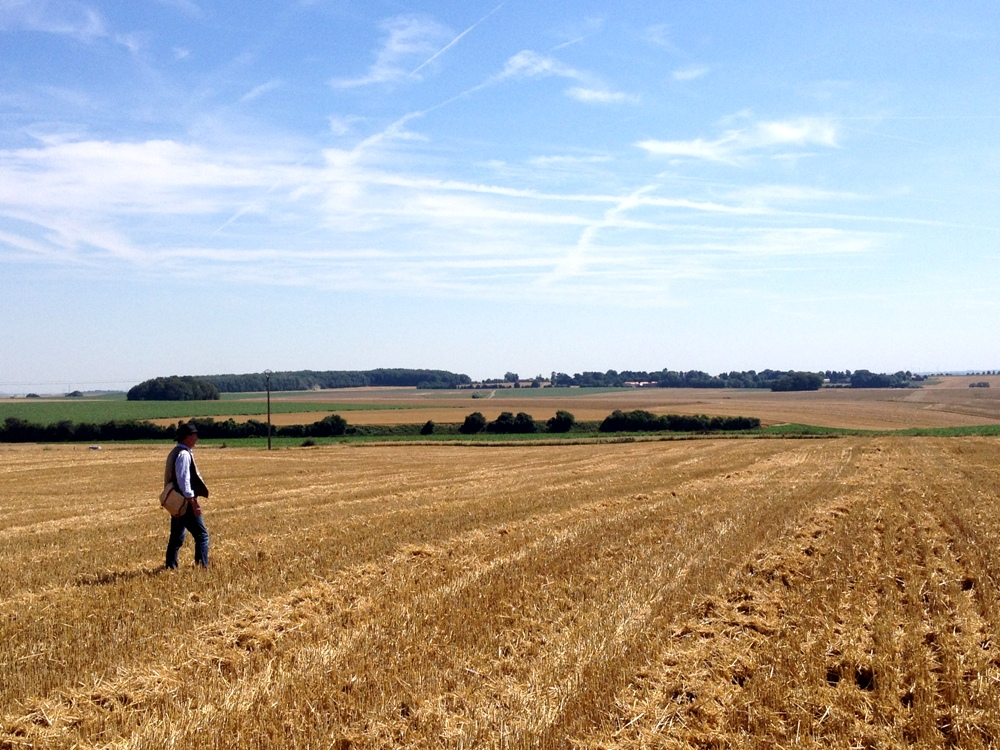 Peter Barton – standing in the German lines in front of Montauban. Across these fields British soldiers and advanced and captured the village on 1 July 1916